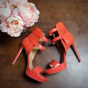 JustFab, Tirzah, High Heel Sandals, Orange, 9